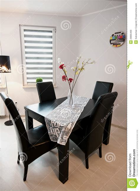 Modern black and white dining room stock image image 29895469