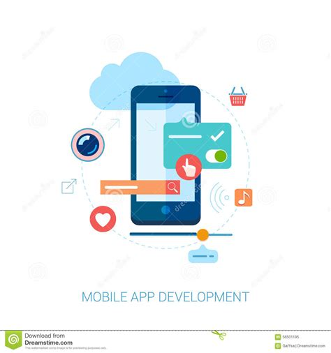 application design and development mobile app development for smartphone and ad flat stock