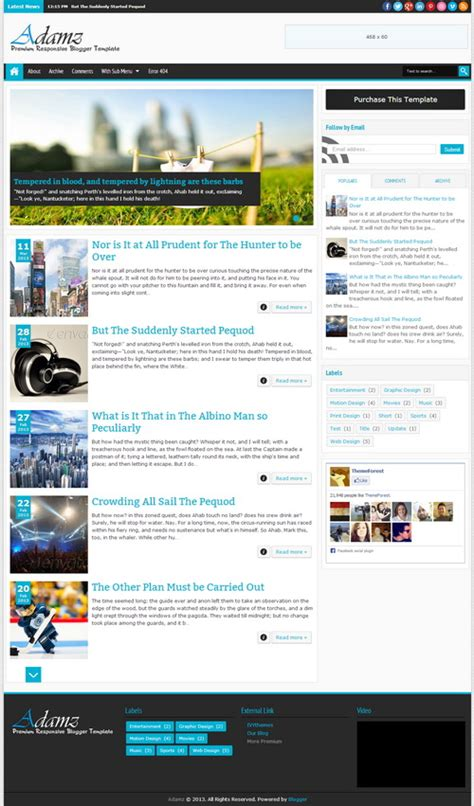 blogger templates free full version adamz responsive premium blogger template blogger