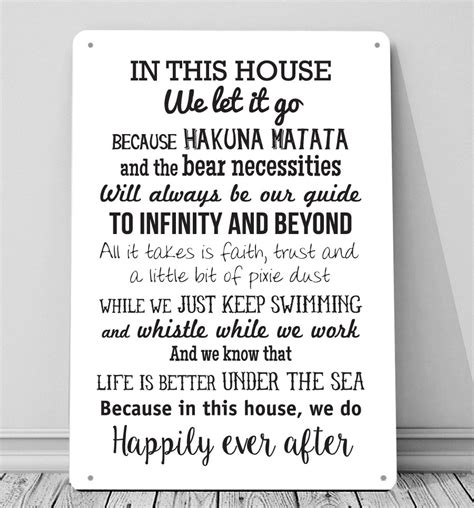 Ribbon Metal Wall Decor In This House We Do Disney Inspired Metal Sign