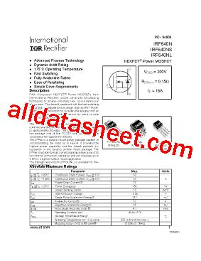 transistor irf640n irf640n datasheet pdf international rectifier