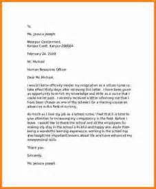 Resignation Letter For Nurses Sle by 9 Nursing Resignation Letter Cashier Resume