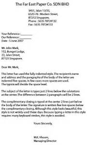 Business Letter Indented Format Minsys Styles Of Business Letter