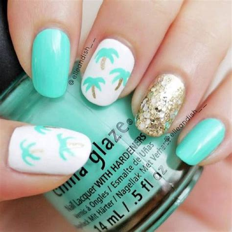 easy nail art with toothpick easy palm tree nails using a toothpick nail art by