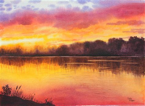 water color sunset watercolor sunset lake painting class demo by cathy