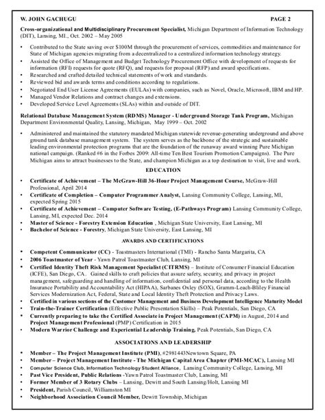 Environmental Protection Specialist Sle Resume by Resume For Gachugu Project Management