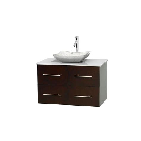Solid Surface Vanity Sinks by Wyndham Collection Centra 36 In Vanity In Espresso With Solid Surface Vanity Top In White And