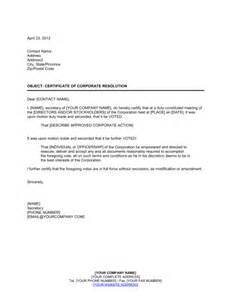 Letter Of Resolution Template by Certificate Of Corporate Resolution Template Sle