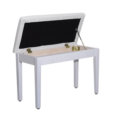 piano bench white homcom faux leather padded double duet piano bench w
