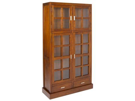 alacenas madera alacena colonial de madera de acacia y cristal color nogal