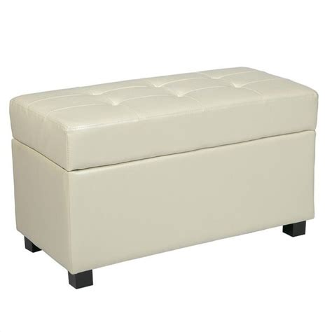bench ottoman with storage storage bench ottoman in cream faux leather met804cm