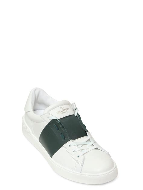 open sneakers valentino open leather sneakers with colored band in white