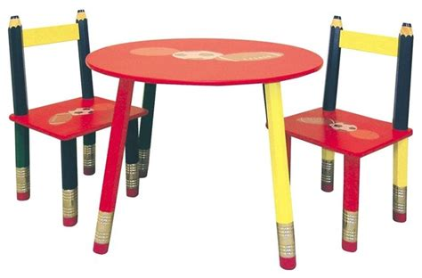 Pencil Table And Chair Set by 3 Pc Colored Pencil Table Chairs Set