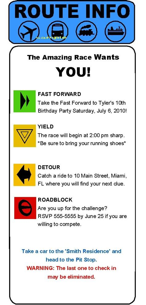 Route Card Template Scouts by Amazing Race Clue Invitations Midnight
