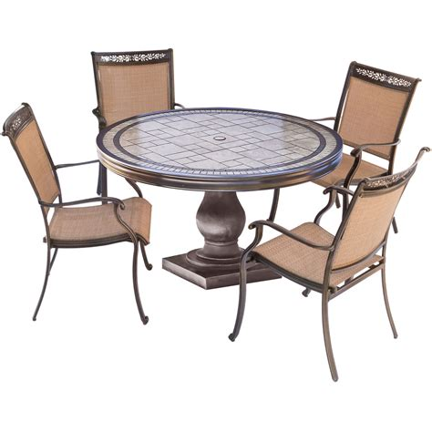 tile top patio table and chairs fontana 5pc outdoor dining set with 4 dining chairs and