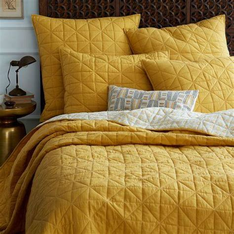 Mustard Bedding by Nomad Coverlet Shams Golden Gate West Elm
