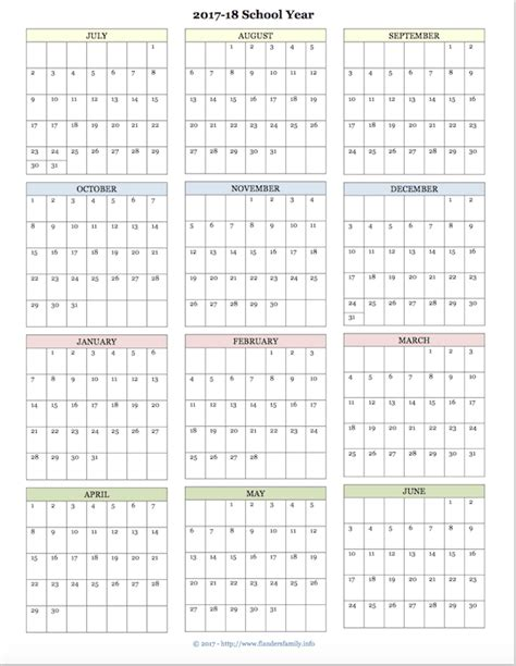 academic calendar year template free printable academic calendar for 2017 2018 school year