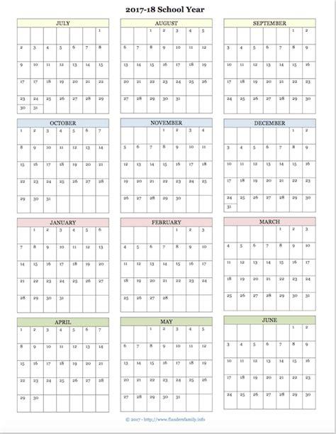 printable academic calendar school year