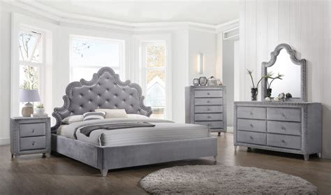 velvet bedroom furniture sophie bedroom set in gray velvet by meridian furniture