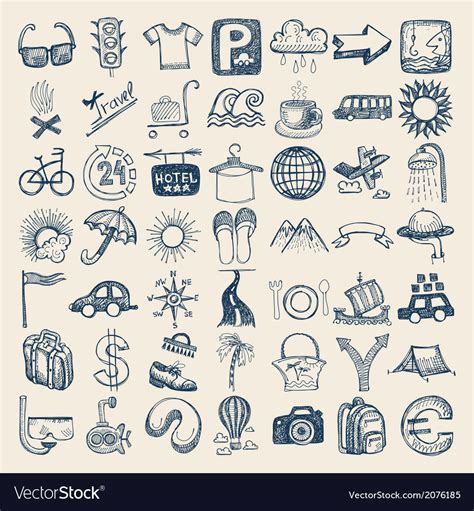 free doodle set icon 49 drawing doodle icon set travel theme vector image