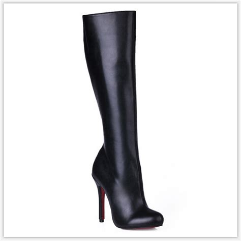 high heeled the knee boots plus size 35 43 winter the knee boots 2016 bottom