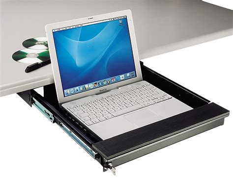 how to secure a laptop to a desk tecnec desk mount lockable laptop drawer for laptops
