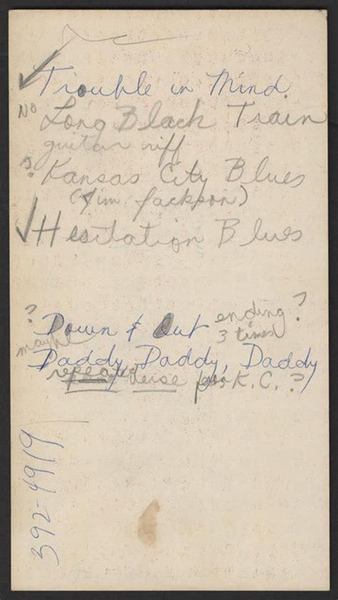 lot detail janis joplin handwritten song list
