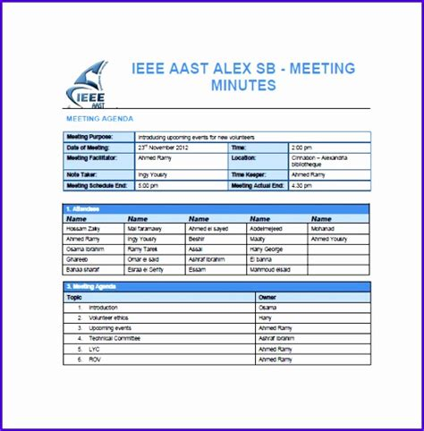 project meeting minutes template excel 12 minutes of meeting template excel exceltemplates