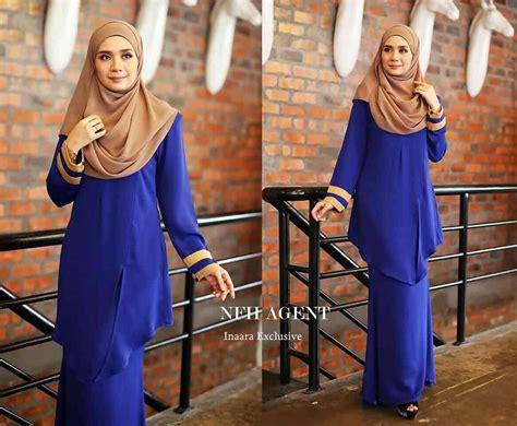Baju Kurung Pahang Royal Blue kurung moden inaara mesra penyusuan saeeda collections