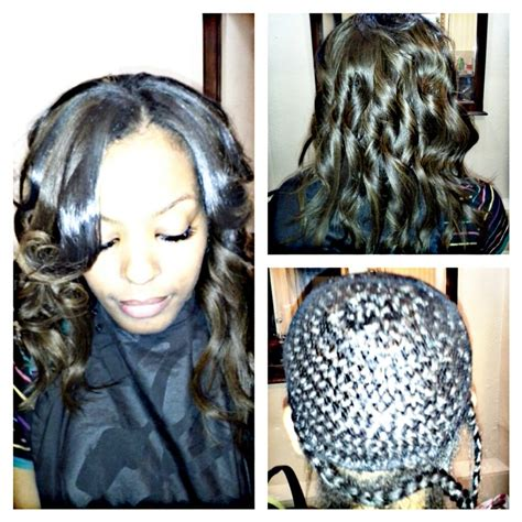 partial sew in hairstyles for synthetic hair partial sew in with very little leave out yelp