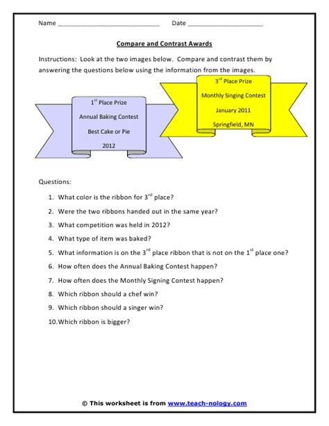 Critical Thinking Worksheets by Compare And Contrast Awards