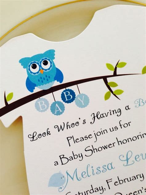 Baby Shower Boy Owl Theme by Baby Shower Invitation Onesie Owl Theme For Boy Printed
