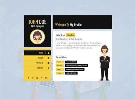 premium layers html vcard resume template free yellow vcard template premium resumes
