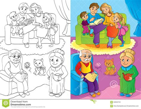 the grand nature therapy coloring book books coloring book of whole family is at home stock