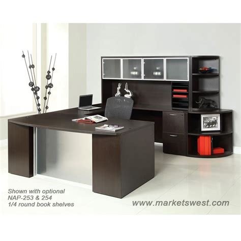 espresso u shaped desk u shape office desk suite w hutch 72 quot x 113 quot in espresso