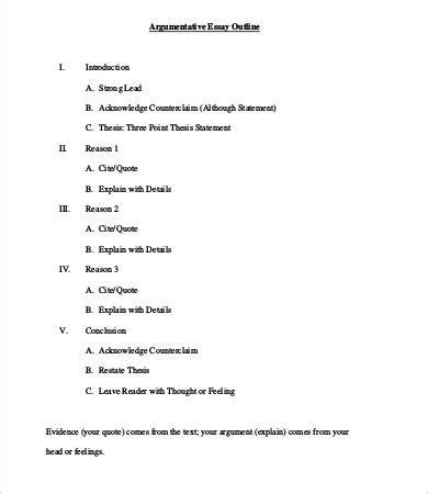 Argumentative Essay Outline Exle by Sle Of A Argumentative Essay Outline