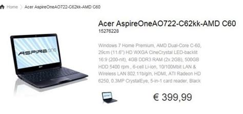 Notebook Acer Aspire One 722 Amd acer aspire 522 722 receiving updated cpus notebookcheck net news