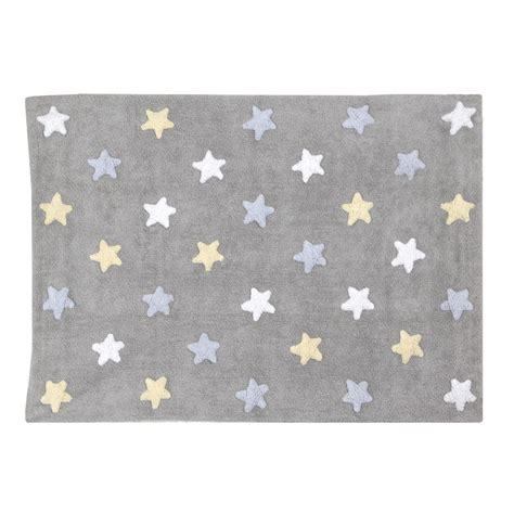 tapis chambre enfant tapis b 233 b 233 gris en coton lavable etoiles tricolores bleu