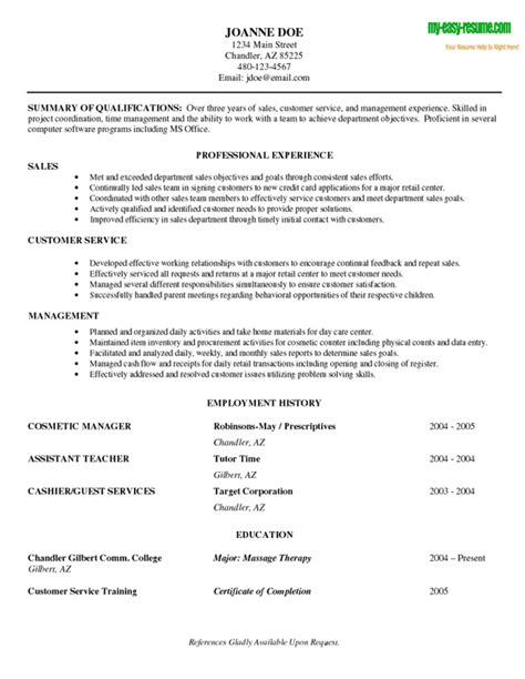 employment resume sle sle beginner resume sle resumes for entry level sales