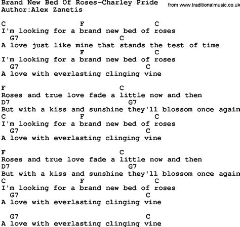 bed of roses lyrics country music brand new bed of roses charley pride lyrics and chords