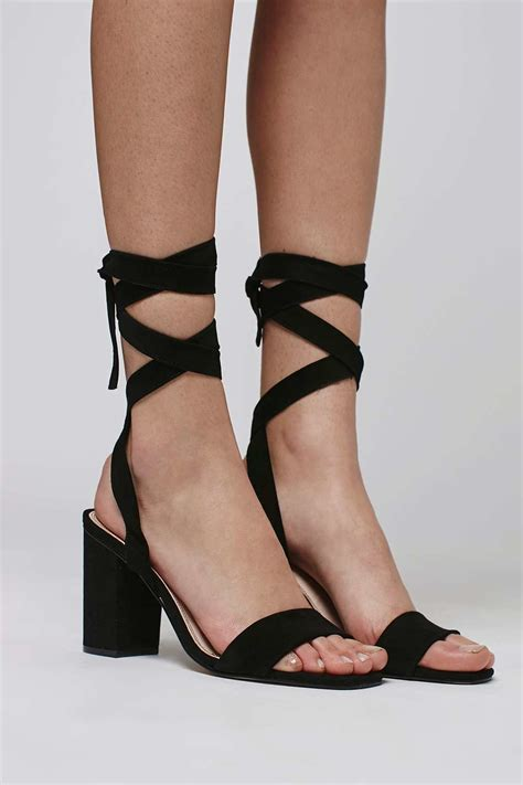 tie sandals topshop rapping ankle tie sandals in black lyst