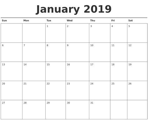 printable planner for january january 2019 calendar printable