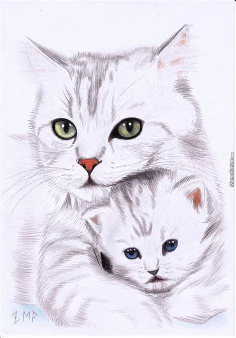 doodle god cat sorry not a meme a doodle of a cat and a kitten done