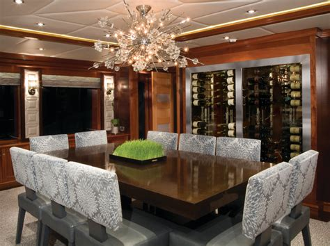 Wine Cellar Dining Room by Vinotemp Custom Wine Cellar In Yacht Dining Room