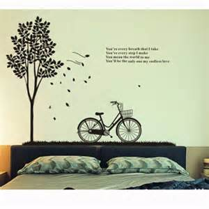 Wall Transfer Stickers tree and bicycle and quotes decal wall art sticker