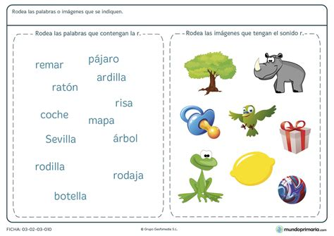 imágenes y palabras com ficha de la letra r para primaria