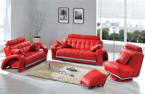 red living room furniture modern contemporary leather sofa sectional sets