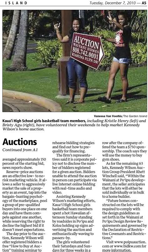 Garden Isle Newspaper by Kennedy Wilson Auction Featured In The Garden Island