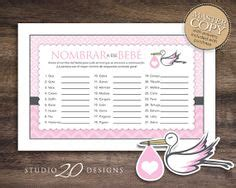 Rifa Pink instant pink stork baby shower for raffle