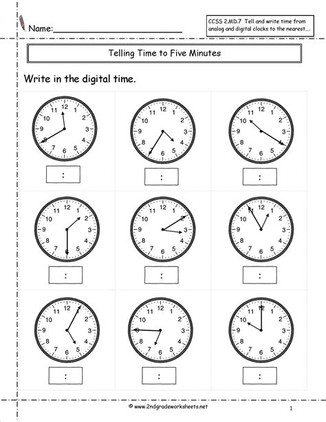 Clock Worksheets Nearest 5 Minutes | telling time to nearest five minutes worksheet